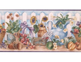 Prepasted Wallpaper Borders - Garden Wall Paper Border ZK60194B