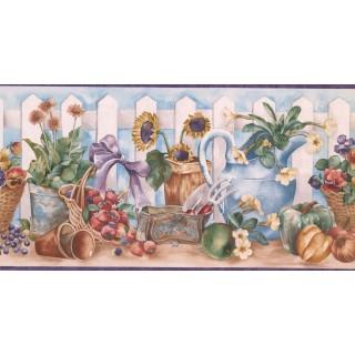 10 1/4 in x 15 ft Prepasted Wallpaper Borders - Garden Wall Paper Border ZK60194B