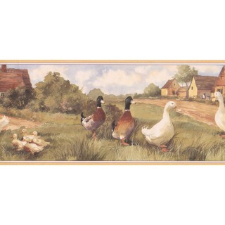 9 in x 15 ft Prepasted Wallpaper Borders - Ducks Wall Paper Border ZK60241B