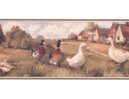 9 in x 15 ft Prepasted Wallpaper Borders - Ducks Wall Paper Border ZK60242B