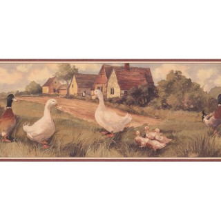 9 in x 15 ft Prepasted Wallpaper Borders - Ducks Wall Paper Border ZK60243B