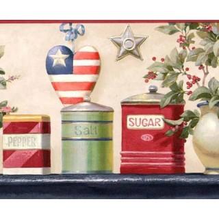 9 in x 15 ft Prepasted Wallpaper Borders - Burgundy American Heart Wall Paper Border