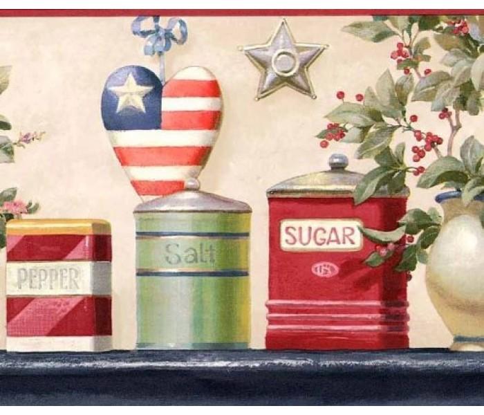 Kitchen Wallpaper Borders: Burgundy American Heart Wallpaper Border