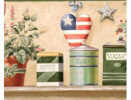 Prepasted Wallpaper Borders - Green American Heart Wall Paper Border