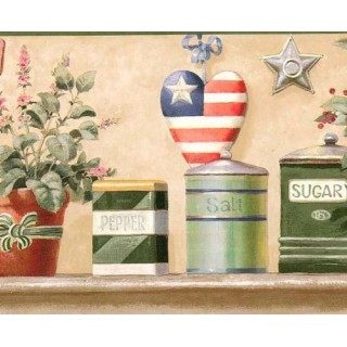 9 in x 15 ft Prepasted Wallpaper Borders - Green American Heart Wall Paper Border