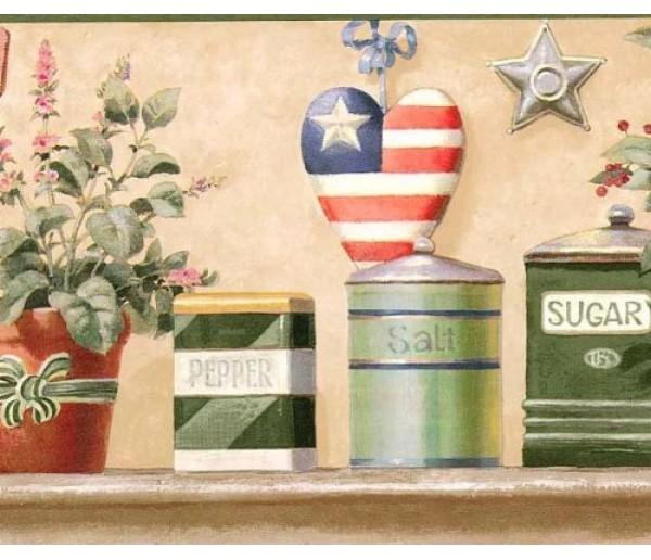 Kitchen Wallpaper Borders: Green American Heart Wallpaper Border