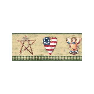 6 7/8 in x 15 ft Prepasted Wallpaper Borders - Faith And Angel Wall Paper Border 006184 BV