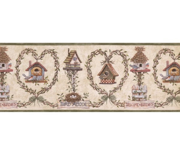 Bird Houses Bird House Wallpaper Border 007121 BP York Wallcoverings