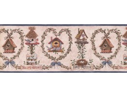 9 in x 15 ft Prepasted Wallpaper Borders - Bird House Wall Paper Border 007123 BP