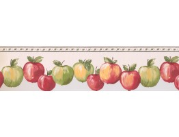 Prepasted Wallpaper Borders - Red And Green Apples Wall Paper Border 007154 BP