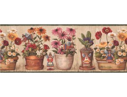 Prepasted Wallpaper Borders - Floral Wall Paper Border 007185 BP
