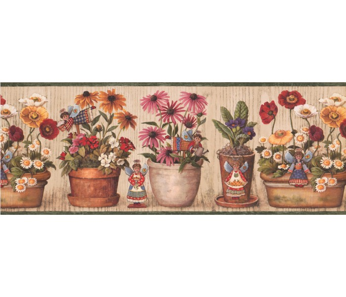 Garden Wallpaper Borders: Floral Wallpaper Border 007185 BP