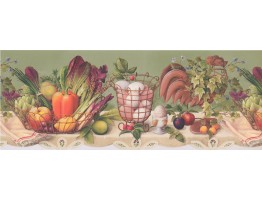 Prepasted Wallpaper Borders - Fruits And Vegetables Wall Paper Border 033133 CP