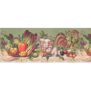 9 1/4 in x 15 ft Prepasted Wallpaper Borders - Fruits And Vegetables Wall Paper Border 033133 CP