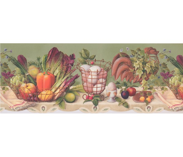 Garden Wallpaper Borders: Fruits And Vegetables Wallpaper Border 033133 CP