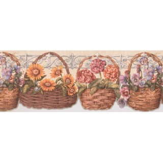 9 1/4 in x 15 ft Prepasted Wallpaper Borders - Floral Wall Paper Border 033173 CP