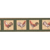 Clearance Roosters Wallpaper Border 033205 CP York Wallcoverings