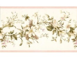 6 7/8 in x 15 ft Prepasted Wallpaper Borders - Floral Wall Paper Border 052233 VC