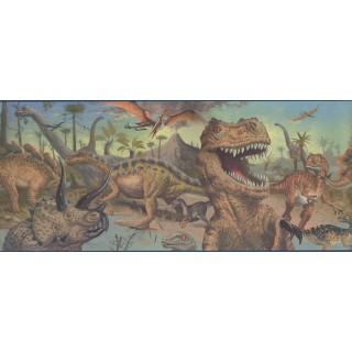 10 in x 15 ft Prepasted Wallpaper Borders - Dinosaur Wall Paper Border 075101 FP