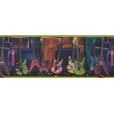 Prepasted Wallpaper Borders - Guitar Wall Paper Border 075131 FB