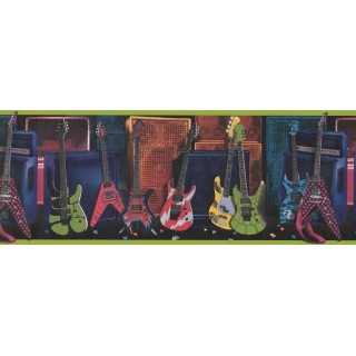 9 in x 15 ft Prepasted Wallpaper Borders - Guitar Wall Paper Border 075131 FB