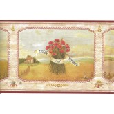 Clearance Corn Field Poppies Wallpaper Border 08001 AAI York Wallcoverings