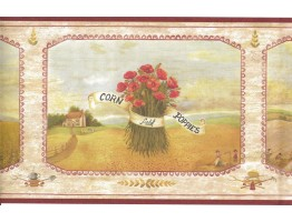Prepasted Wallpaper Borders - Corn Field Poppies Wall Paper Border 08001 AAI