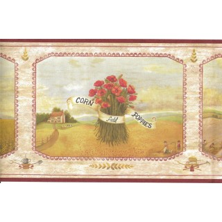 6 3/4 in x 15 ft Prepasted Wallpaper Borders - Corn Field Poppies Wall Paper Border 08001 AAI