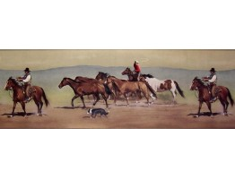 9 in x 15 ft Prepasted Wallpaper Borders - Horses Wall Paper Border B10030601
