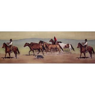 9 in x 15 ft Prepasted Wallpaper Borders - Horses Wall Paper Border B10030601