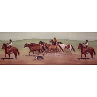 9 in x 15 ft Prepasted Wallpaper Borders - Horses Wall Paper Border B10030602
