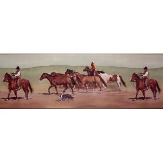 9 in x 15 ft Prepasted Wallpaper Borders - Horses Wall Paper Border B10030602