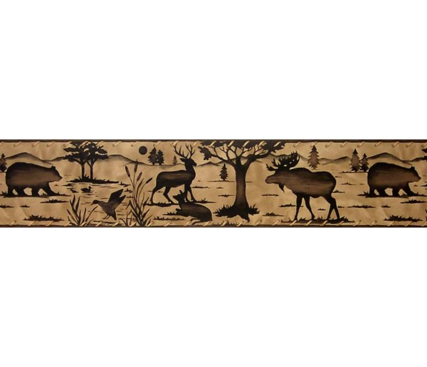 Deer Moose Animals Wallpaper Border B10030703 S.A.MAXWELL CO.