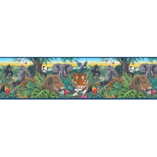 10 1/4 in x 15 ft Prepasted Wallpaper Borders - Animals Wall Paper Border B10126