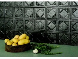 Backsplash Tiles  - Decorative Thermoplastic Tile 18 X 24 Artnouvo Crosshatch Silver