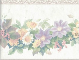 9 1/4 in x 15 ft Prepasted Wallpaper Borders - Flower Wall Paper Border 12167