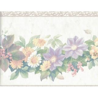 9 1/4 in x 15 ft Prepasted Wallpaper Borders - Flower Wall Paper Border 12167