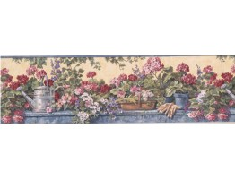 7 1/2 in x 15 ft Prepasted Wallpaper Borders - Floral Wall Paper Border 1236 PKB