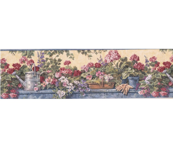 Garden Wallpaper Borders: Floral Wallpaper Border 1236 PKB