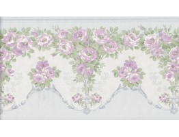 6 1/4 in x 15 ft Prepasted Wallpaper Borders - Flower Wall Paper Border 136B69574SB