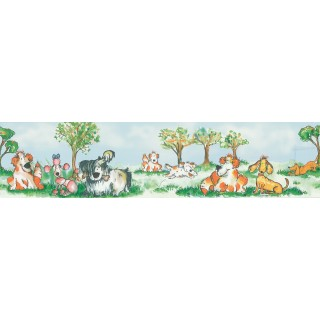 6 in x 12 ft Prepasted Wallpaper Borders - Christina Knapp Dogs Wall Paper Border 143B88901