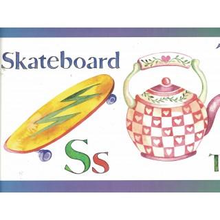 8 1/4 in x 15 ft Prepasted Wallpaper Borders - Skateboard Wall Paper Border 143B88904