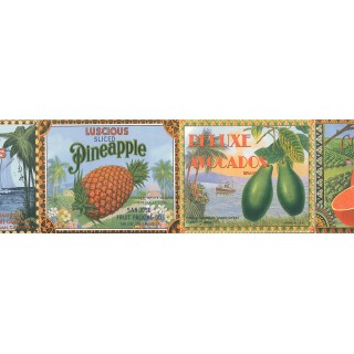 9 in x 12 ft Prepasted Wallpaper Borders - Vintage Fruit Labels Wall Paper Border 144B87704