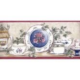 Kitchen Wallpaper Borders: White Plates Wallpaper Border 156205