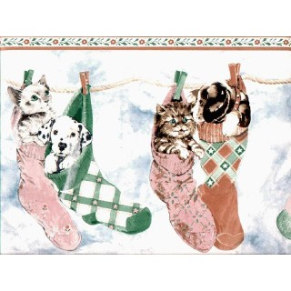 10 1/4 in x 15 ft Prepasted Wallpaper Borders - Cats and Dogs Wall Paper Border B160210