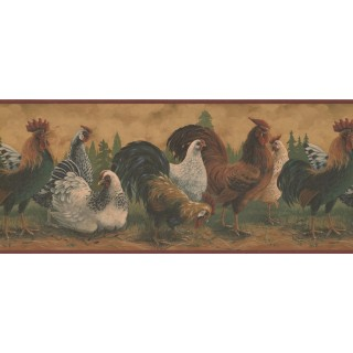 10 1/2 in x 15 ft Prepasted Wallpaper Borders - Roosters Wall Paper Border 192677 RD