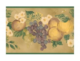 Prepasted Wallpaper Borders - Green Apple And Grapes Wall Paper Border 2258 KR