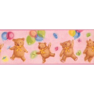 9 in x 15 ft Prepasted Wallpaper Borders - Teddy Bears Wall Paper Border 2301 IF