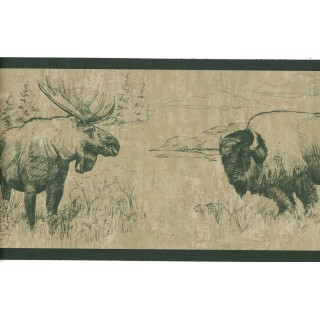 6 3/4 in x 15 ft Prepasted Wallpaper Borders - Animals Wall Paper Border 242B58387
