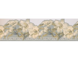 6.87 in x 15 ft Prepasted Wallpaper Borders - Floral Wall Paper Border 2499 FFB